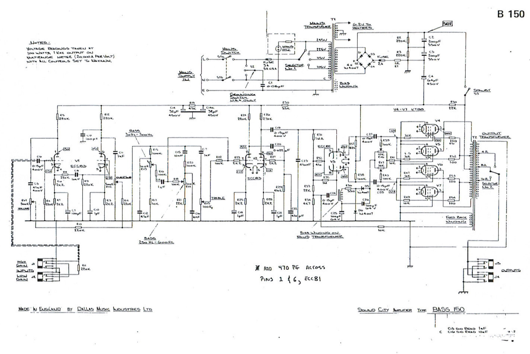 coustic amp wiring diagram sound city 150 bass  sound city 150 bass